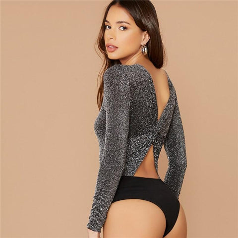 Twist Back Glitter Bodysuit - Infinitress