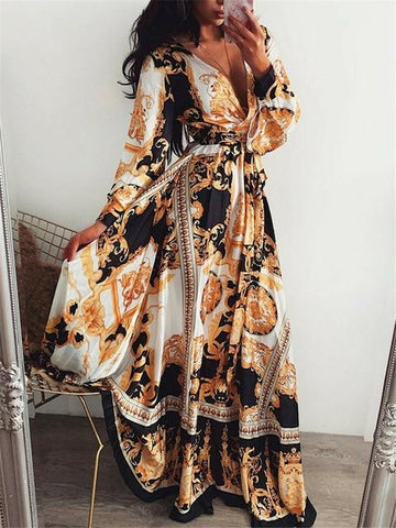 Vintage Print Maxi Wrap Dress - Infinitress