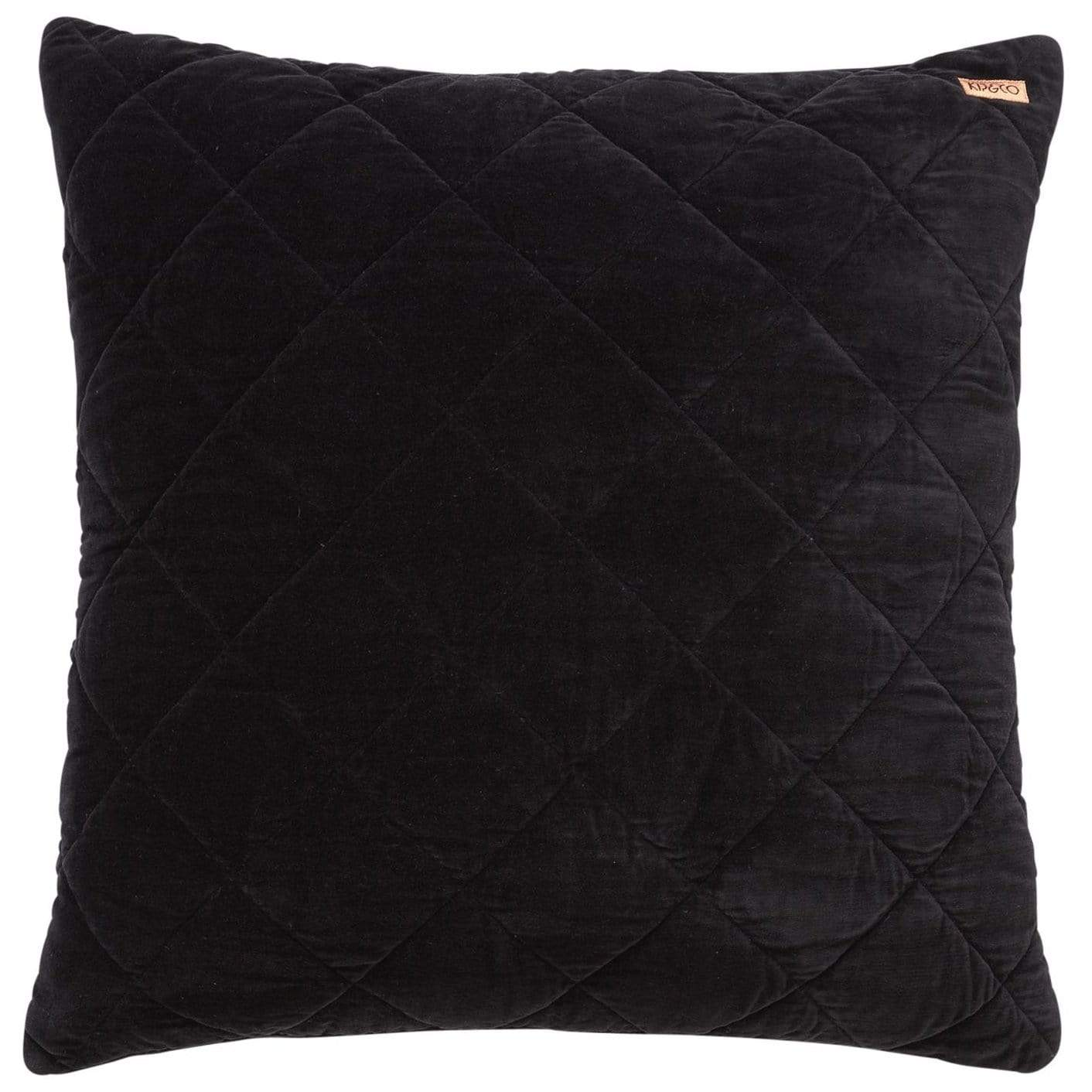 Kip Co Jet Black Quilted Velvet Euro Sham Last One Meadow Blu