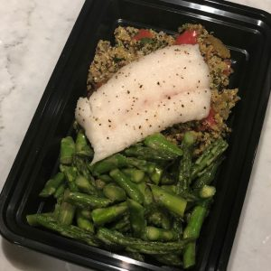 Cod with Curried Onion Quinoa, Lemon Asparagus and Garlic Lime Dressing