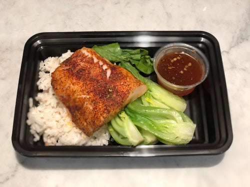 Spice Rubbed Cod with Coconut Rice, Bok Choy and Garlic-Lime Dressing
