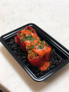 Curried Onion Quinoa Stuffed Peppers with Black Beans and Romesco Sauce