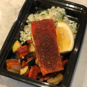 Salmon with Coriander Rice, Seasonal Vegetables and Lemon Vinaigette