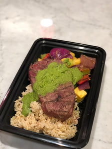 Grilled Steak with Seasonal Vegetables, Wild Rice and Salsa Verde