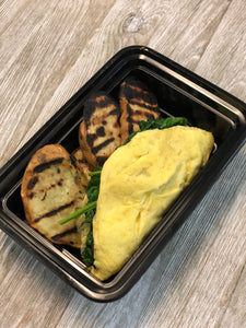 Chicken apple sausage omelette w/ spinach & sweet potato toast