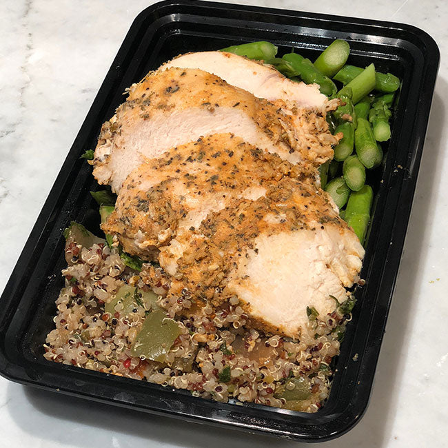 Lemon Chicken with Quinoa salad and Asparagus