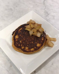 Pumpkin Pancakes w/ brown butter spiced pear & chicken sausage