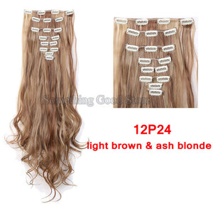 SNOILITE 18 Clips in Hair Extensions Synthetic Hairpiece 24inch Curly