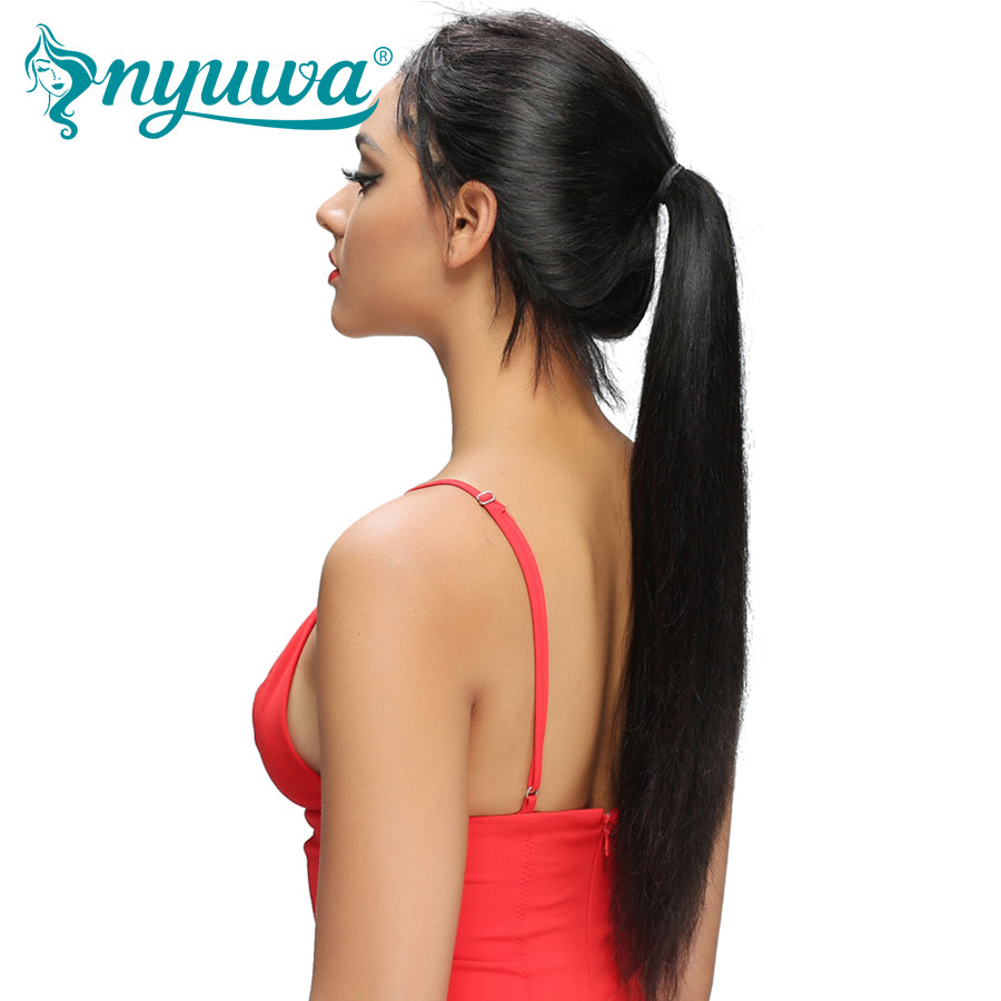 NYUWA Straight Lace Front Human Hair Wigs Pre Plucked With Baby Hair