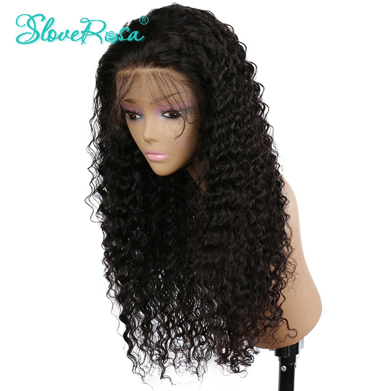 Peruvian Deep Curly Lace Front Human Hair Wig 150% Density With Baby Hair Bleached Knots