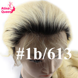 Atina Queen Dark Roots Blonde Human Hair Wig Pre Plucked with Baby Hair