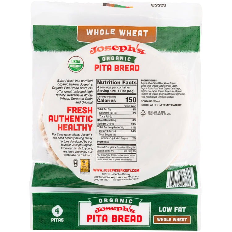Organic Whole Wheat Pita Bread