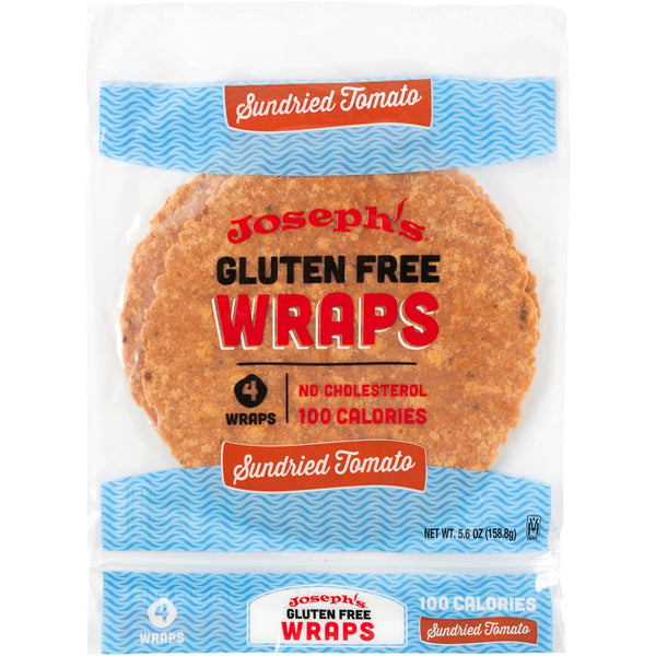 Joseph's Bakery gluten free sundried tomato wraps packaging photo from the front.