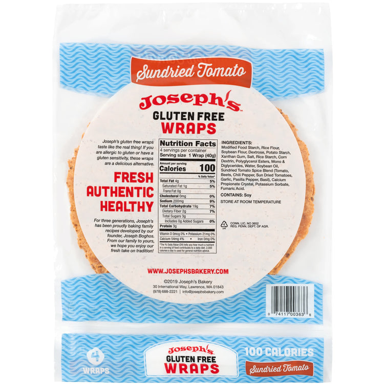 Joseph's Bakery gluten free sundried tomato wraps packaging photo from the back.