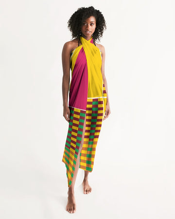 (ESSENCE) Kente-Inspired Hand-Sewn Luxurious Swim Cover Up