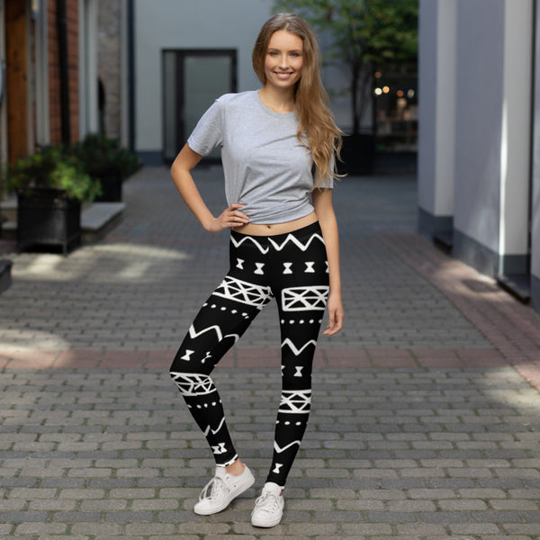 (INHALE) MudCloth-Inspired Hand-Sewn 4-Way Stretch Leggings