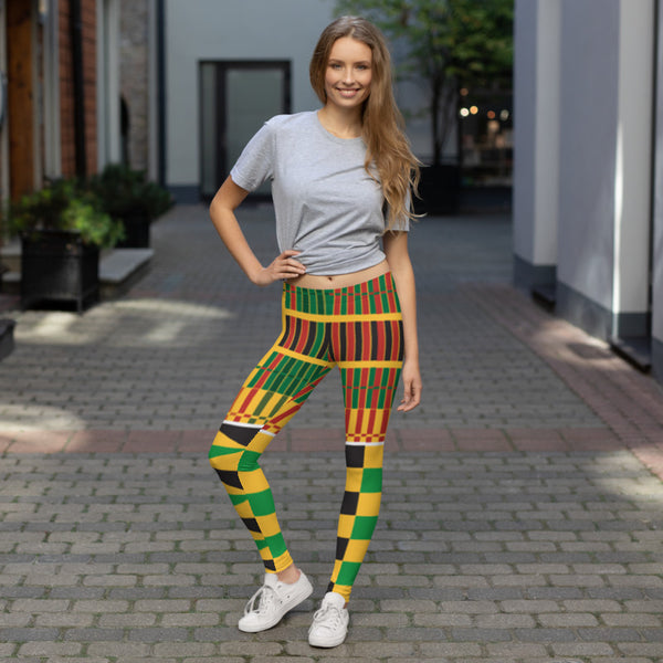 (STRENGTH) Kente-Inspired Hand-Sewn 4-Way Stretch Leggings