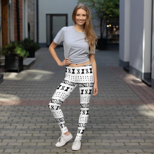 (EXHALE) MudCloth-Inspired Hand-Sewn 4-Way Luxury Leggings-Phany's