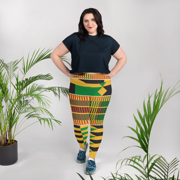 (STRENGTH) Kente-Inspired Hand-Sewn 4-Way Stretch Plus Leggings-Phany's