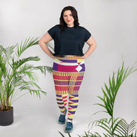 (LIFE) Kente-Inspired Hand-Sewn 4-Way Stretch Plus Leggings-Phany's