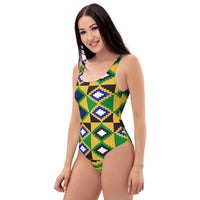 (POWER) Kente-Inspired Hand-Sewn Luxury One-Piece Swimsuit