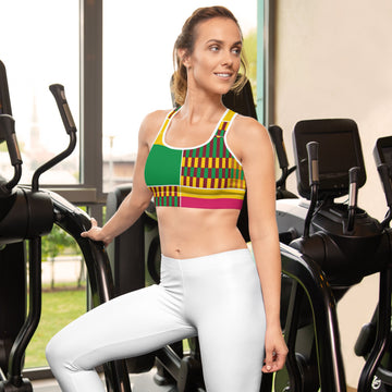 (ESSENCE) Kente-Inspired Hand-Sewn Sports bra
