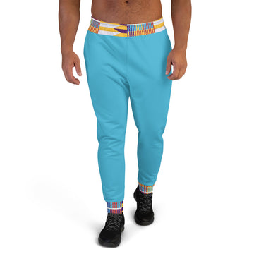 Blue Hand-sewn Men Kente pattern Joggers
