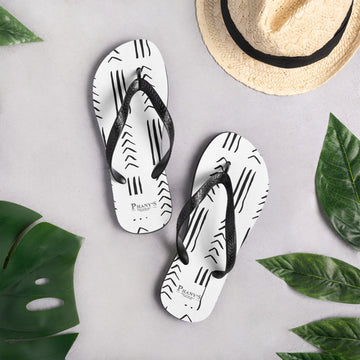 (EXHALE) MudCloth-Inspired Durable Luxury Flip-Flop Slippers