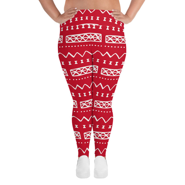 (POWER) MudCloth-Inspired Hand-Sewn 4-Way Stretch Plus Size Leggings-Phany's
