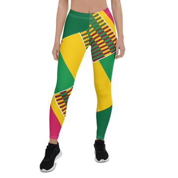 (ESSENCE) Kente-Inspired Hand-Sewn 4-Way Stretch Leggings