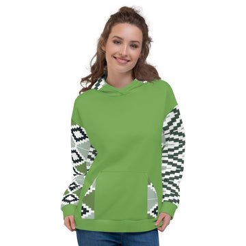 Light Green Quality Kente pattern Fall/Winter Hoodie Sweatshirt