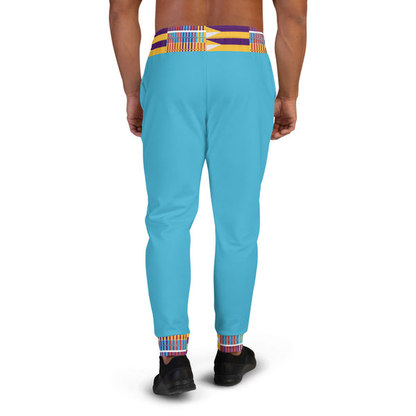 Blue Hand-sewn Men Kente pattern Joggers-Phany's