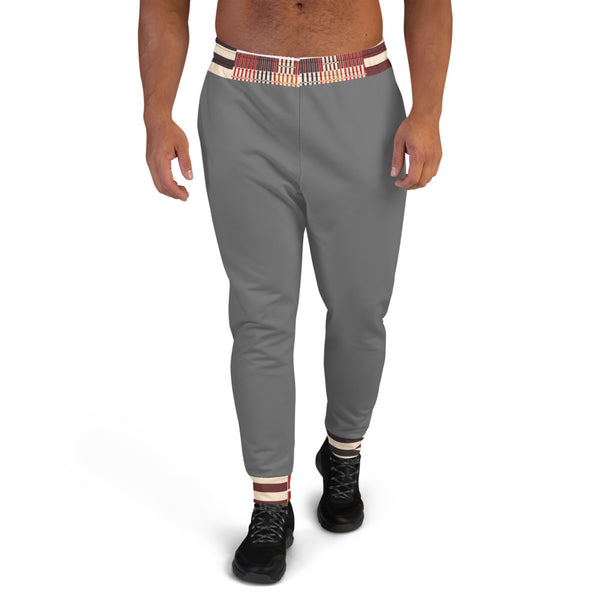 Grey Hand-sewn Men Kente pattern Joggers-Phany's