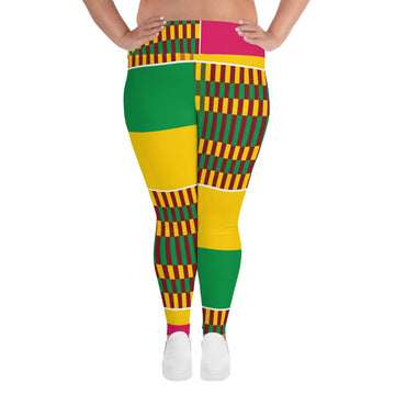 (ESSENCE) Kente-Inspired Hand-Sewn Plus Leggings