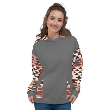 Grey Quality kente pattern Fall Winter Hoodie Sweatshirt