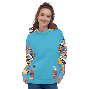 Blue Hand-sewn kente pattern Fall Winter  Hoodie Sweatshirt