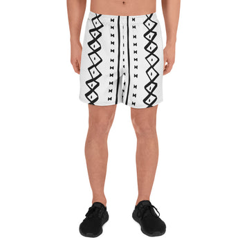 (EXHALE) MudCloth-Inspired Men's Luxury Athletic Long Shorts