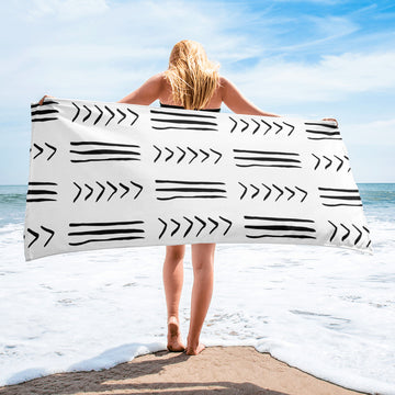 (EXHALE) MudCloth-Inspired Luxury Oversized Beach Towel