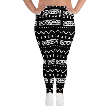 (INHALE) MudCloth-Inspired Hand-Sewn 4-Way Stretch Plus Leggings