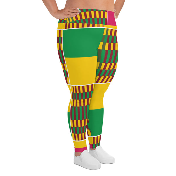 (ESSENCE) Kente-Inspired Hand-Sewn Plus Leggings-Phany's