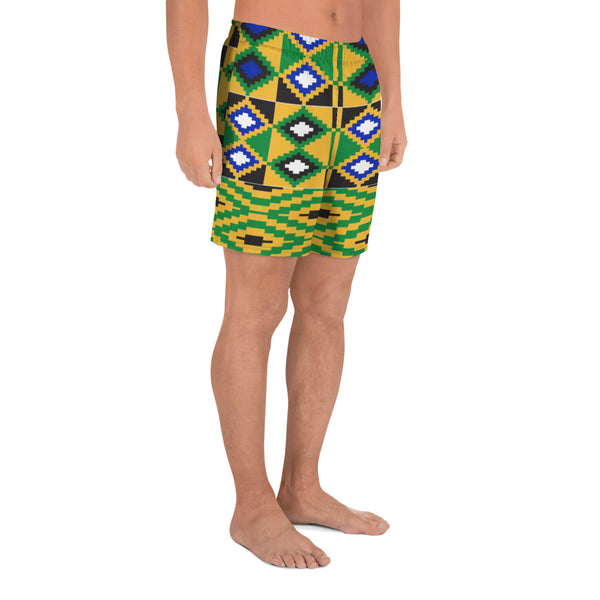 (POWER) Kente-Inspired Men's Luxury Athletic Long Shorts-Phany's