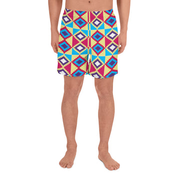 (LIFE) Kente-Inspired Men's Luxury Athletic Long Shorts