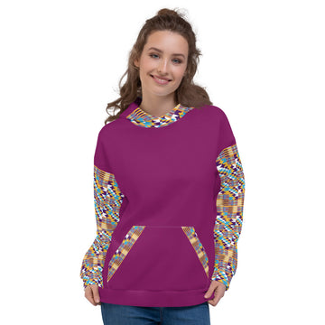 Purple Quality kente pattern Fall Winter Hoodie Sweatshirt