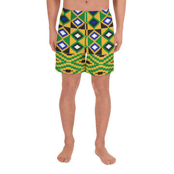 (POWER) Kente-Inspired Men's Luxury Athletic Long Shorts