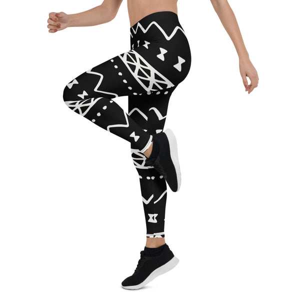 (INHALE) MudCloth-Inspired Hand-Sewn 4-Way Stretch Leggings-Phany's