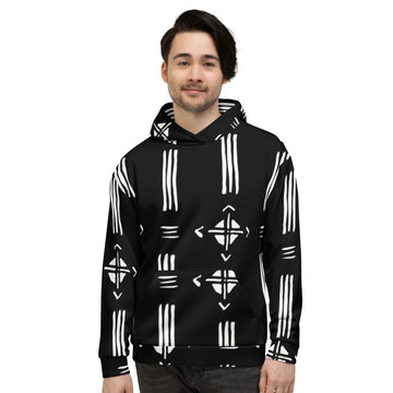 (INHALE) Hand-sewn Men Mud-cloth pattern Fall/ Winter Hoodie
