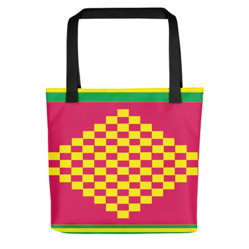 (ESSENCE) Diamond-shape Hand-sewn Kente-inspired Tote bag