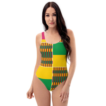 (ESSENCE) Kente-Inspired One-of-a-Kind Swimsuit