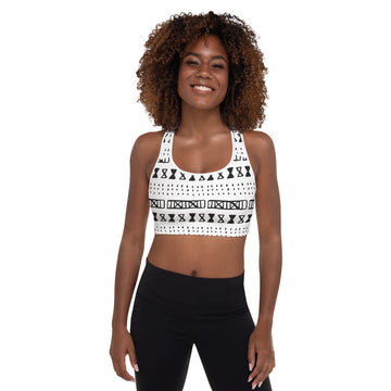 (EXHALE) Hand-sewn Mudcloth pattern Padded Sports Bra