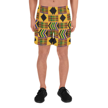 (STRENGTH) Kente-Inspired Hand-Sewn Men's Luxury Athletic Long Shorts